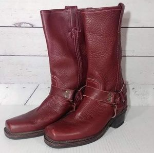 Frye Moto Harness Leather Boots sz 8.5M